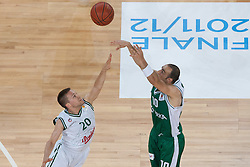 Afik Nissim of Krka & Jan Mocnik of Union Olimpija during basketball match between KK Union Olimpija and KK Krka in 4nd Final match of Telemach Slovenian Champion League 2011/12, on May 24, 2012 in Arena Stozice, Ljubljana, Slovenia. Krka defeated Union Olimpija 65-55. (Photo by Grega Valancic / Sportida.com)