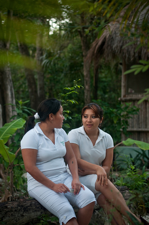 Lucy Batun and Kajli Poot, mayan masseuses at the Jungle Spa..The Jungle Spa in Puerto Morelos, Mexico, just 20 minutes from Cancun is managed by Sandra Dayton who is also the co-founder of the non-profit organization Lu'um K'aa Nab that helps mayan women make a living for them selves by selling handicraft and giving mayan massage at the Jungle Spa.