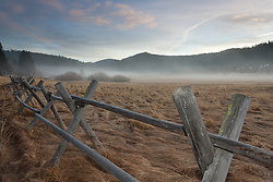 """Wood Fence in Squaw Valley"" - This wood fence was photographed on a foggy  early morning in Squaw Valley, CA."