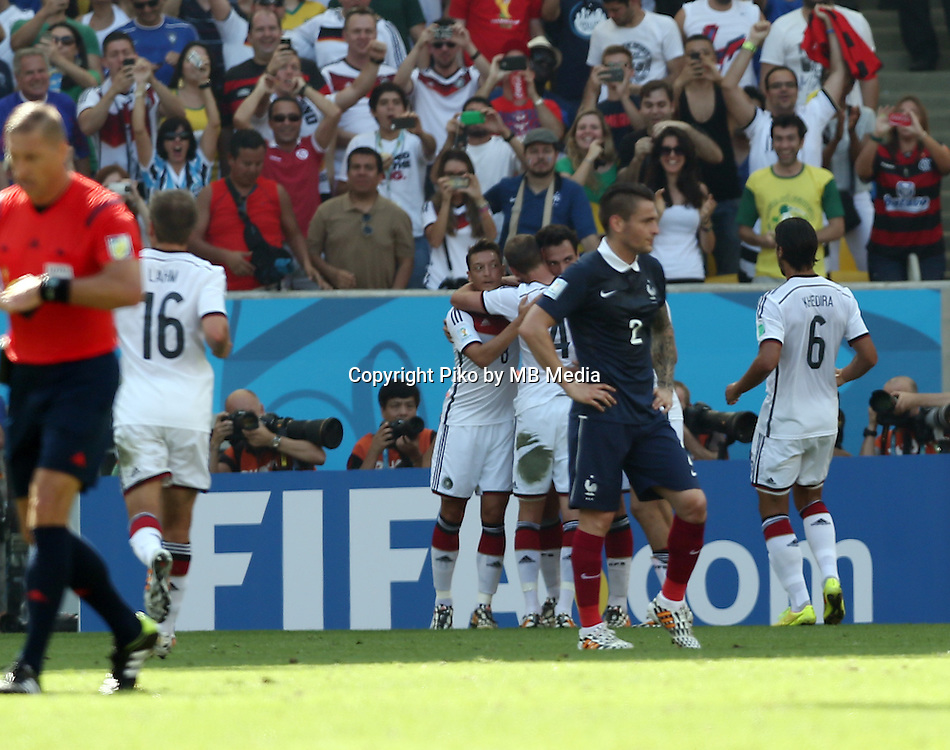 Fifa Soccer World Cup - Brazil 2014 - <br /> FRANCE (FRA) Vs. GERMANY (GER) - Quarter-finals - Estadio do MaracanaRio De Janeiro -- Brazil (BRA) - 04 July 2014 <br /> Here German team celebrating first goal. Scoring the match 0-1.<br /> &copy; PikoPress