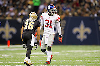 28 November 2011: Cornerback (31) Aaron Ross of the New York Giants lines up to cover (16) Lance Moore of the New Orleans Saints during the second half of the Saints 49-24 victory over the Giants at the Mercedes-Benz Superdome in New Orleans, LA.