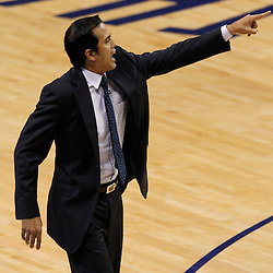 Jun 14, 2012; Oklahoma City, OK, USA;  Miami Heat head coach Erik Spoelstra reacts during the first quarter of game two in the 2012 NBA Finals against the Oklahoma City Thunder at Chesapeake Energy Arena. Mandatory Credit: Derick E. Hingle-US PRESSWIRE
