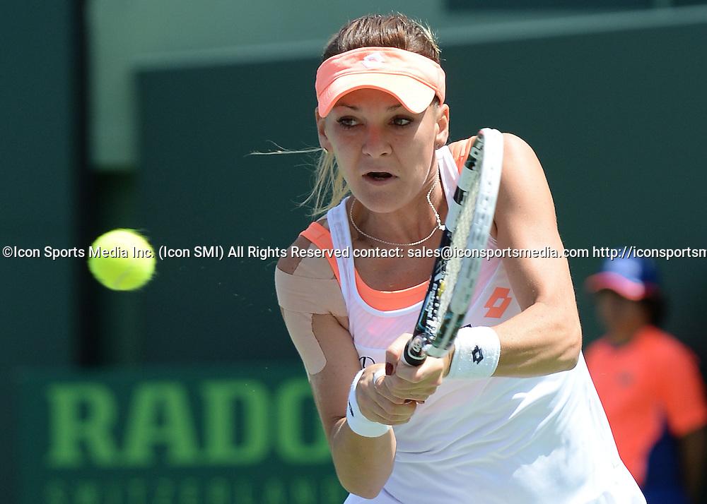 March 26rd, 2014:   Agnieszka Radwanska  during Women's single Quaterfinal match agains Dominika Cibulkova at the Sony Open in Crandon Park, Florida
