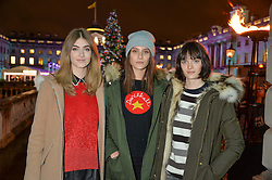 Left to right, EVE DELF, SAM ROLLINSON and CHARLOTTE WIGGINS at Skate At Somerset House with Fortnum & Mason on 16th November 2016.