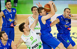 Matej Krusic of Slovenia vs Ante Masic of Bosnia and Dalibor Persic of Bosnia during basketball match between National teams of Slovenia and Bosna and Herzegovina in day 1 of Adecco cup, on August  3, 2012 in Arena Stozice, Ljubljana, Slovenia. (Photo by Vid Ponikvar / Sportida.com)