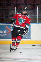 KELOWNA, CANADA - NOVEMBER 5: Tyrell Goulbourne #12 of Kelowna Rockets skates during warm up against the Victoria Royals on November 5, 2014 at Prospera Place in Kelowna, British Columbia, Canada.  (Photo by Marissa Baecker/Shoot the Breeze)  *** Local Caption *** Tyrell Goulbourne;