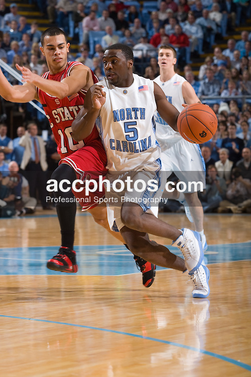 12 January 2008: North Carolina Tar Heels guard Ty Lawson (5) during a 62-93 win over the North Carolina State Wolfpack at the Dean Smith Center in Chapel Hill, NC.