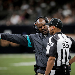 Aug 29, 2019; New Orleans, LA, USA; Miami Dolphins head coach Brian Flores talks to head linesman Greg Bradley (98) during the second half of a preseason game at the Mercedes-Benz Superdome. Mandatory Credit: Derick E. Hingle-USA TODAY Sports