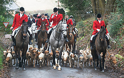 ©Licensed to London News Pictures 26/12/2019. <br /> Chiddingstone ,UK. Horses and hounds arriving. Nigel Farage (Brexit party Leader) attending Old Surrey Burstow and West Kent Boxing day hunt at Chiddingstone.  Photo credit: Grant Falvey/LNP
