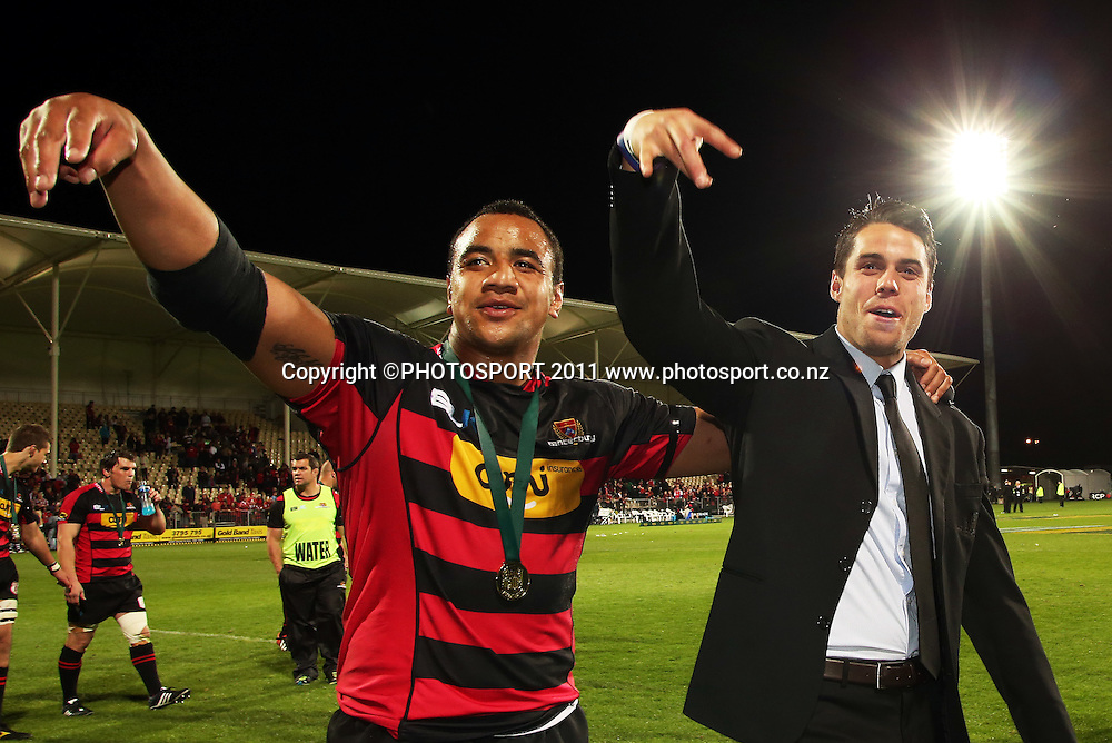 Canterbury players Nasi Manu and Sean Maitland. Auckland v Canterbury. ITM CUP Rugby Final, AMI Stadium, Christchruch. Saturday 27 October 2012. Joseph Johnson/photosport.co.nz