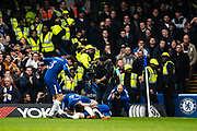 Chelsea (28) César Azpilicueta, celebrates with team mates after scoring goal during the Premier League match between Chelsea and West Ham United at Stamford Bridge, London, England on 8 April 2018. Picture by Sebastian Frej.