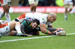 Henry Taylor of Northampton Saints scores a try in the second half - Mandatory byline: Patrick Khachfe/JMP - 07966 386802 - 12/01/2020 - RUGBY UNION - Franklin's Gardens - Northampton, England - Northampton Saints v Benetton Rugby - Heineken Champions Cup