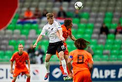 Timo Werner of Germany vs Joris Voest of Netherlands during the UEFA European Under-17 Championship Final match between Germany and Netherlands on May 16, 2012 in SRC Stozice, Ljubljana, Slovenia. (Photo by Vid Ponikvar / Sportida.com)