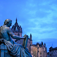 Juxtaposed against St. Giles Cathedral the Scottish Philosopher David Hume (1711-1776) - whose writings almost led to his excommunication from the church.  .[Statue by Alexander Stoddart]