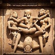 Erotic sculptures in a Khajuraho's temple