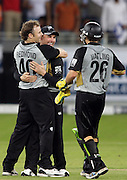 Dubai UAE. Aaron Redmond taking a wicket during the first ICC Twenty20 (Twenty Twenty) match between Pakistan and New Zealand held at the Dubai International Cricket Stadium on the 12th November 2009. Photo By Francois Steenkamp/SPORTDXB