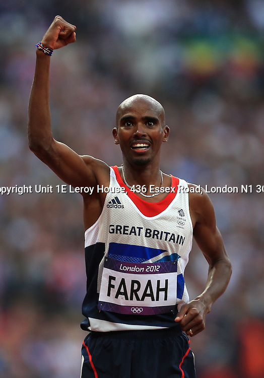 11th August 2012 - London 2012 Olympic Games - Athletics - Men's 5,000m Final - Mo Farah (GBR) celebrates victory - Photo: Simon Stacpoole / Offside.
