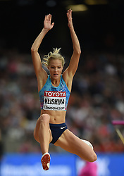 August 11, 2017 - London, England, United Kingdom - Darya Klishina jumps in the long jump final in London at the 2017 IAAF World Championships athletics at the London Stadium in London on August 11, 2017. (Credit Image: © Ulrik Pedersen/NurPhoto via ZUMA Press)
