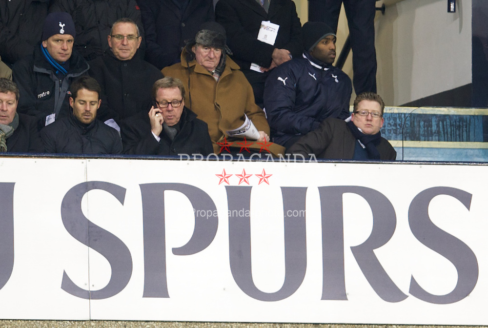 LONDON, ENGLAND - Wednesday, February 1, 2012: Tottenham Hotspur's manager Harry Redknapp and son Jamie watch the Under-19's take on Liverpool during the NextGen Series Quarter-Final match at White Hart Lane. (Pic by David Rawcliffe/Propaganda)