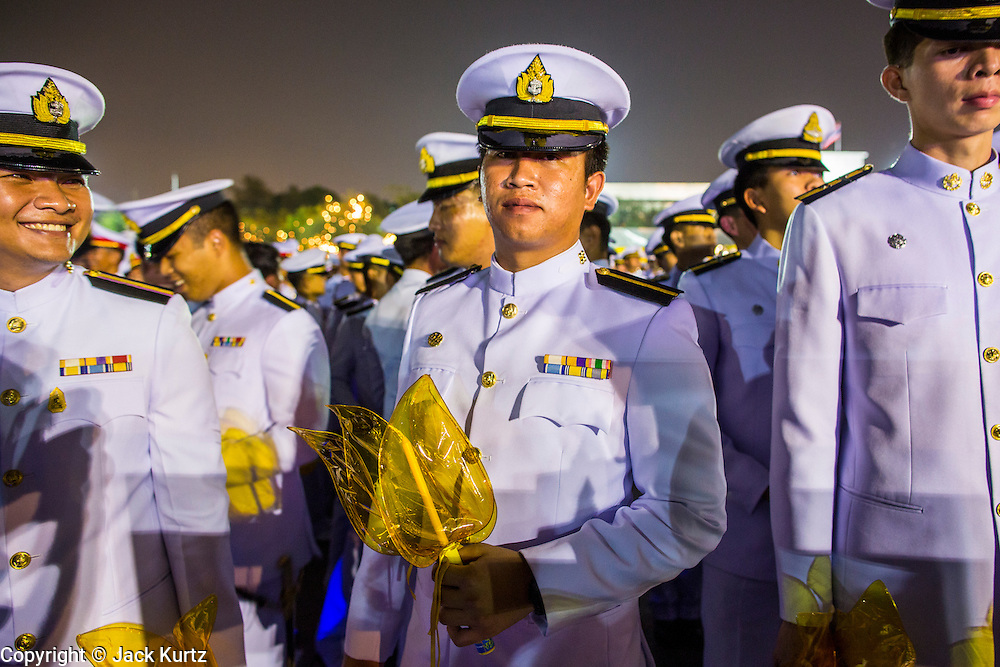 05 DECEMBER 2012 - BANGKOK, THAILAND:  A Thai army cadets during the public ceremony to celebrate the birthday of Bhumibol Adulyadej, the King of Thailand, on Sanam Luang, a vast public space in front of the Grand Palace in Bangkok Wednesday night. The King celebrated his 85th birthday Wednesday and hundreds of thousands of Thais attended the day long celebration around the Grand Palace and the Royal Plaza, north of the Palace. The Thai monarch is revered by most Thais as unifying force in Thailand's society, which is not yet recovered from the political violence of 2010.     PHOTO BY JACK KURTZ