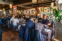 Dining room, Restaurante Playa Bella, Estepona, Malaga Province, Spain, February, 2020, 202002162237<br /><br />Copyright Image from Victor Patterson, Belfast, UK<br />t: +44 28 9066 1296 <br />(from Rep of Ireland 048 9066 1296) <br />m: +44 7802 353836 <br />victorpattersonbelfast@gmail.com <br />www.victorpatterson.com<br /><br />Please see my Terms and Conditions of Use at https://www.victorpatterson.com/page2 <br /><br />It is IMPORTANT that you familiarise yourself with them.<br /><br />Images used on the Internet incur an additional cost and must be visibly watermarked i.e. © Victor Patterson within the body of the image and copyright metadata must not be deleted. Images used on the Internet have a size restriction of 4kbs and are chargeable at rates available at victorpatterson.com.<br /><br />This image is only available for the use of the download recipient i.e. television station, newspaper, magazine, book publisher, etc, and must not be passed on to any third party. It is also downloaded on condition that each and every usage is notified within 7 days to victorpattersonbelfast@gmail.com<br /><br />The right of Victor Patterson to be identified as the author is asserted in accordance with The Copyright Designs And Patents Act (1988). All moral rights are asserted.