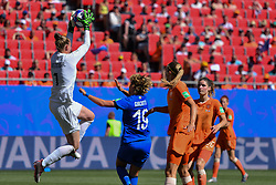 June 30, 2019 - Valenciennes, France - Netherlands' goalkeeper Sari van Veenendaal catching the ball over Valentina GIACINTI (ITA) during the quarter-final between in ITALY and NETHERLANDS the 2019 women's football World cup at Stade du Hainaut, on the 29 June 2019. (Credit Image: © Julien Mattia/NurPhoto via ZUMA Press)