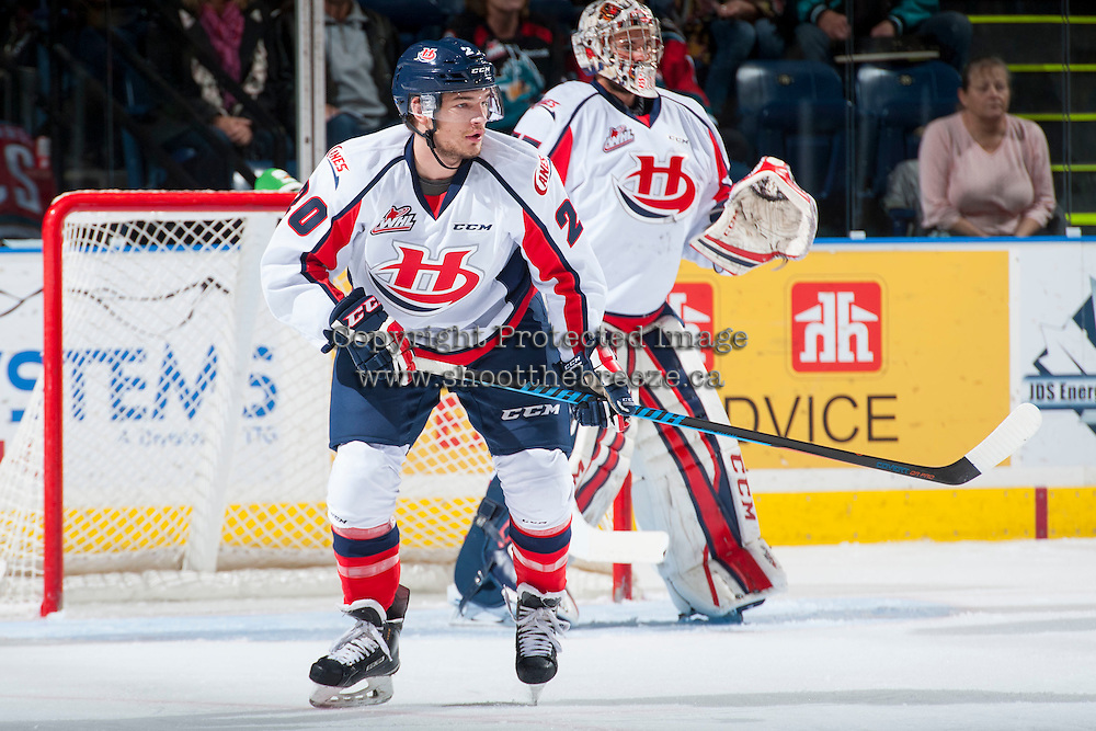 KELOWNA, CANADA - OCTOBER 31: Kord Pankewicz #20 of Lethbridge Hurricanes skates against the Kelowna Rockets on October 31, 2015 at Prospera Place in Kelowna, British Columbia, Canada.  (Photo by Marissa Baecker/Shoot the Breeze)  *** Local Caption *** Kord Pankewicz;