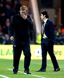 Liverpool manager Jurgen Klopp looks frustrated in front of   Middlesbrough manager Aitor Karanka - Mandatory by-line: Robbie Stephenson/JMP - 14/12/2016 - FOOTBALL - Riverside Stadium - Middlesbrough, England - Middlesbrough v Liverpool - Premier League
