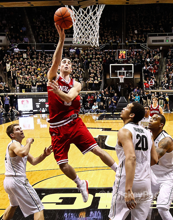 WEST LAFAYETTE, IN - JANUARY 30: Will Sheehey #0 of the Indiana Hoosiers shoots the ball against the Purdue Boilermakers at Mackey Arena on January 30, 2013 in West Lafayette, Indiana. Indiana defeated Purdue 97-60. (Photo by Michael Hickey/Getty Images) *** Local Caption *** Will Sheehey