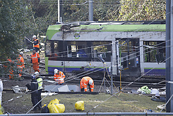 © Licensed to London News Pictures. 11/11/2016. Croydon, UK. Investigations are continuing into a tram crash that claimed seven lives and injured 50. The driver has been questioned by police before being released on bail. Photo credit: Peter Macdiarmid/LNP