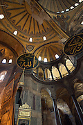"""Interior of Haghia Sophia.Aya Sofia.Hagia Sophia (from the Greek: Ἁγία Σοφία, """"Holy Wisdom""""; Latin: Sancta Sophia or Sancta Sapientia; Turkish: Ayasofya) is a former Greek Orthodox patriarchal basilica (church), later an imperial mosque, and now a museum (Ayasofya Müzesi) in Istanbul, Turkey. From the date of its construction in 537 until 1453, it served as an Eastern Orthodox cathedral and seat of the Patriarchate of Constantinople,except between 1204 and 1261, when it was converted to a Roman Catholic cathedral under the Latin Empire. The building was a mosque from 29 May 1453 until 1931. It was then secularized and opened as a museum on 1 February 1935."""
