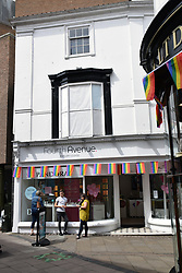 Shops decorated for Pride 2017, Norwich UK, 29 July 2017