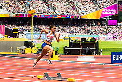 London, 2017 August 06. Zoey Clak sprints off in heat five of the Women's 400m on day three of the IAAF London 2017 world Championships at the London Stadium. © Paul Davey.
