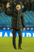 Rotherham United Manager Paul Warne gestures towards the Rotherham fans at full time during the EFL Sky Bet Championship match between Sheffield Wednesday and Rotherham United at Hillsborough, Sheffield, England on 8 December 2018.