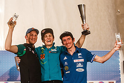 Schubert Jakob (AUT), Skofic Domen (SLO) and Desgranges Romain (FRA) during ceremony of IFSC Climbing World Cup Kranj 2016, on November 27, 2016 in Arena Zlato Polje, Kranj, Slovenia. (Photo By Grega Valancic / Sportida.com)