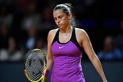 22.04.2016, Porsche Arena, Stuttgart, GER, WTA Tour, Porsche Tennis Grand Prix Stuttgart, Viertelfinale, im Bild Roberta Vinci (ITA) // Roberta Vinci of Italy during quarterfinals of Porsche Tennis Grand Prix of the WTA Tour at the Porsche Arena in Stuttgart, Germany on 2016/04/22. EXPA Pictures © 2016, PhotoCredit: EXPA/ Eibner-Pressefoto/ Weber<br /> <br /> *****ATTENTION - OUT of GER*****