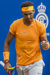 April 28, 2018 - Barcelona, Catalonia, Spain - RAFAEL NADAL (ESP) celebrates a point against David Goffin (BEL) in their semi-final of the 'Barcelona Open Banc Sabadell' 2018. Nadal won 6:4, 6:0 (Credit Image: © Matthias Oesterle via ZUMA Wire)