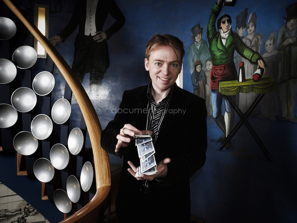 Scott Penrose, Vice President of The Magic Circle on the spiral staircase at the society's HQ.  Penrose is the UK's leading illusionist and advises on TV , film and theatre shows, including BBC1's 'Magicians' series.
