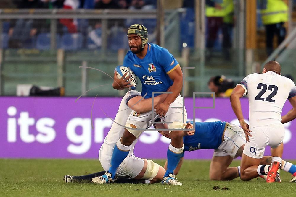 Roma 04/02/2018 Stadio Olimpico<br /> Natwest 6 nations Italia vs Inghilterra<br /> Maxime Mata Mbanda&rsquo; placcato da Ben Youngs