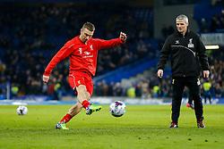 Rickie Lambert of Liverpool shoots in the warm up - Photo mandatory by-line: Rogan Thomson/JMP - 07966 386802 - 27/01/2015 - SPORT - FOOTBALL - London, England - Stamford Bridge - Chelsea v Liverpool - Capital One Cup Semi-Final Second Leg.
