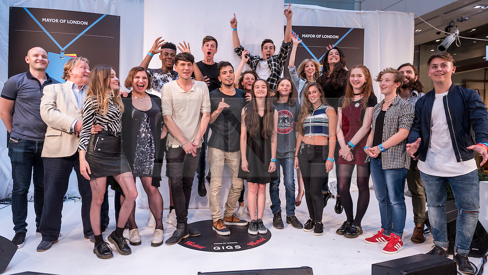 © Licensed to London News Pictures. 04/09/2016. London, UK. Finalists and judges on stage. Young buskers take part in the Mayor of London's GIGS 2016 busking competition Grand Final, held at Westfield, Stratford where large crowds gathered to see the performances.  Photo credit : Stephen Chung/LNP