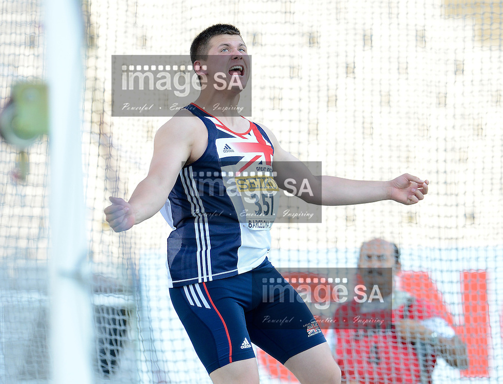 BARCELONA, Spain: Tuesday 10 July 2012, Nicholas Percy of Great Britain in the mens discus during the afternoon session of Day 1 of the IAAF World Junior Championships at the Estadi Olimpic de Montjuic..Photo by Roger Sedres/ImageSA