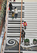 SHANGHAI, CHINA - FEBRUARY 16: (CHINA OUT)<br /> <br /> Piano Stairs<br /> <br /> Customers walk on stairs made like keys of a piano at a shopping mall on February 16, 2016 in Shanghai, China. The piano stairs are constituted by 34 steps and they will produce musical sounds of the different notes when walking on. <br /> ©Exclusivepix Media