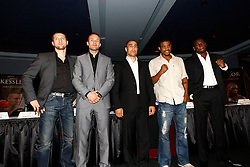 July 13, 2009; New York, NY, USA; Carl Froch, Mikkel Kessler, Arthur Abraham, Andre Dirrell and Jermain Taylor pose at the press conference at Madison Square Garden announcing the Super Six World Boxing Classic, which will pit six of the world's top super middleweights in a series of bouts.  Andre Ward was unable to attend.