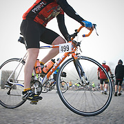 A male cyclist rides his bike around the staging area at Sunday River before the start of the Trek. The 2007 Trek Across Maine, an annual project of the American Lung Association of Maine (ALAM).
