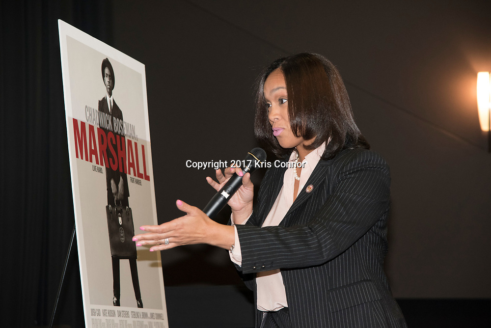 Director Reginald Hudlin,  Actor Chadwick Boseman  and Roland Martin listen as Baltimore City State's Attorney Marilyn J. Mosby speaks during a Q&A session after a screening of Open Road Films' new movie MARSHALL at in Baltimore, Md. on July 25th, 2017. (Photo by Kris Connor/Open Road Films)