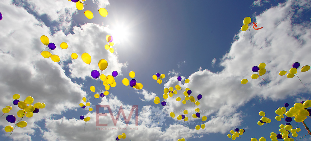Yellow and purple balloons flying skywards <br />