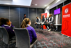 During Black History Month, Korey Smith and Seikou Janneh of Bristol City and Abi Harrison of Bristol City Women's FC take part in a Q&A with pupils from  Greenfield Academy in Bristol. The players discussed their journeys into professional football and any challenges they or others have faced as members of the BAME community - Rogan/JMP - 15/10/2019 - Ashton Gate Stadium - Bristol, England.