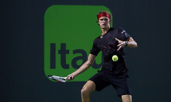 March 26, 2018 - Miami, Florida, United States - Alexander Zverev, from Germany,  in action against David Ferrer, from Spain, for the third round at the Miami Open. Zverev defeated ferrer 2-6, 62, 6-4 in Key Biscayne, on March 26, 2018. (Credit Image: © Manuel Mazzanti/NurPhoto via ZUMA Press)