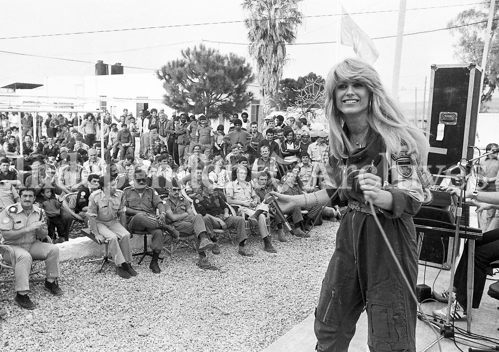 Geraldine Branagan performing at one of the  concerts during  her visit to Irish troops in the Lebanon. March 14, 1980. (Part of the Independent Newspapers/NLI Collection)